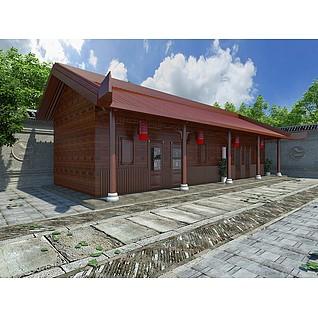 中式木屋围墙建筑3d模型