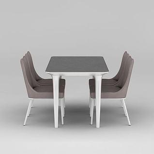 现代简约餐桌餐椅3d模型