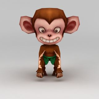 <font class='myIsRed'>Q版小鱼儿与花无缺</font>游戏角色动物小猴子3d模型