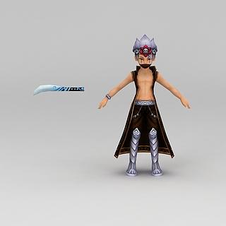 Q版小鱼儿与花无缺游戏人物男人3d模型