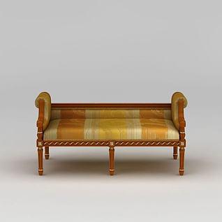 欧式实木床尾凳3d模型