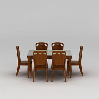 现代实木餐桌餐椅组合3d模型