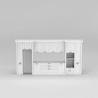 美式白色整体橱柜3d模型