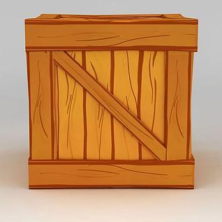 手绘风格木箱3d模型