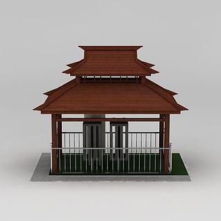 园林双层休闲亭3d模型3d模型