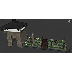 城楼木桥水池3D模型3d模型
