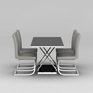 现代灰色不锈钢餐桌餐椅组合3d模型