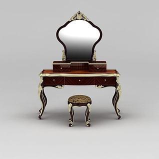 现代欧式雕花化妆台3d模型