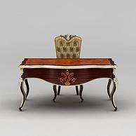 欧式实木书桌书椅3D模型3d模型
