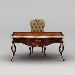 欧式实木书桌书椅3d模型