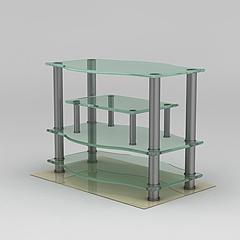 拉丝不锈钢玻璃电视柜模型3d模型