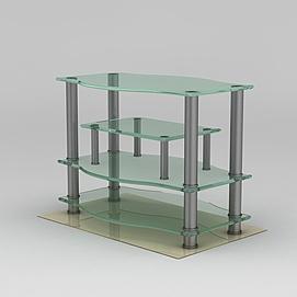 拉丝不锈钢玻璃<font class='myIsRed'>电视柜</font>3d模型