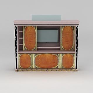 欧式粉色实木电视柜3d模型