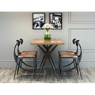 现代loft工业风桌椅套装3d模型