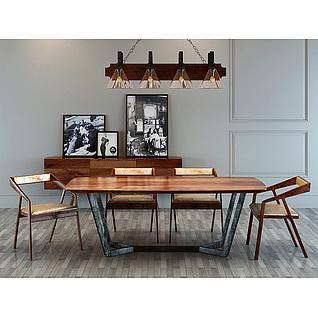 现代时尚loft工业风桌椅3d模型