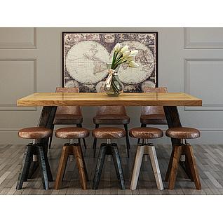 时尚休闲工业风餐桌椅3d模型