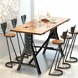 现代工业风餐桌椅3d模型