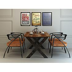 现代工业风餐桌椅套装3D模型3d模型