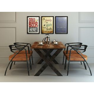 现代工业风餐桌椅套装3d模型