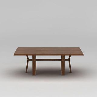 实木长<font class='myIsRed'>餐桌</font>3d模型