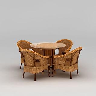 编制休闲桌椅组合3d模型