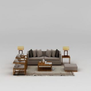 现代实木灰色布艺茶几沙发组合3d模型