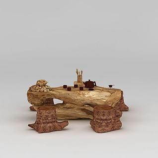 精品实木树雕根雕茶几凳子组合3d模型