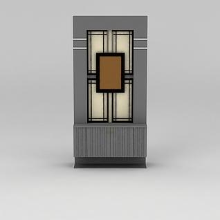 现代灰色条纹边柜玄关鞋柜3d模型