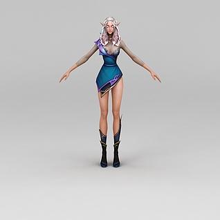 动漫游戏角色精灵女3d模型