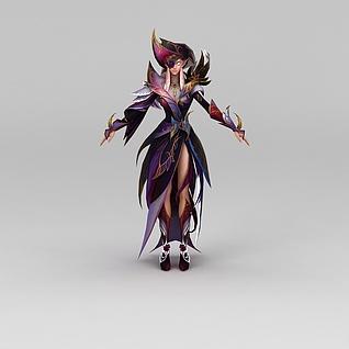 精灵女动漫游戏角色3d模型