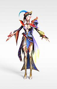 精灵女动漫游戏角色模型3d模型