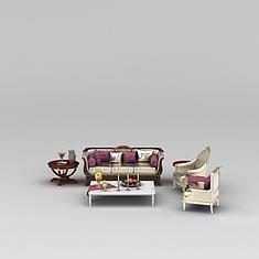 现代银色沙发茶几组合3D模型3d模型