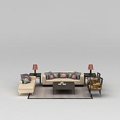 中式实木沙发茶几组合3D模型3d模型