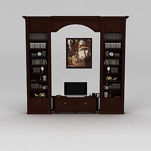 现代实木客厅电视柜书柜模型3d模型