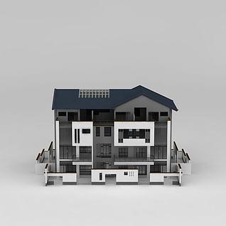 新中式徽派别墅建筑3d模型3d模型