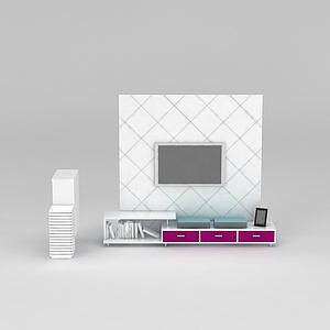 现代白色实木电视柜模型3d模型