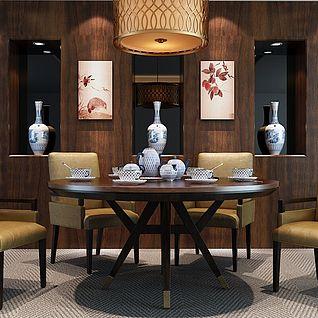 精品中式实木桌椅套装3d模型
