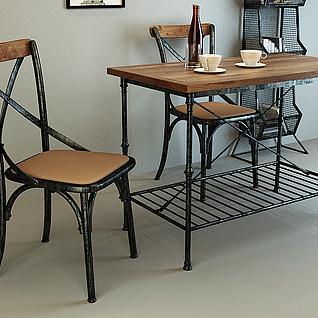 休闲桌椅书报架3d模型