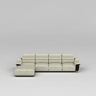 精品米色转角沙发套装3d模型