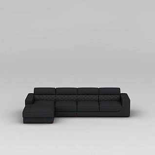 现代深灰色布艺沙发3d模型
