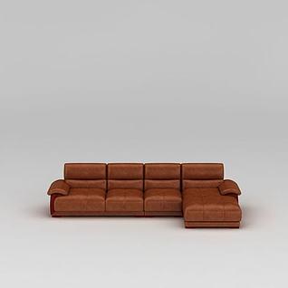 现代皮沙发组合3d模型