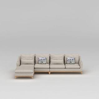 现代米色布艺沙发3d模型