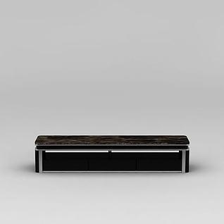 现代黑色大理石电视柜3d模型