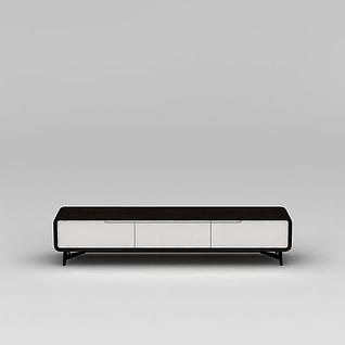 现代黑白拼色电视柜3d模型