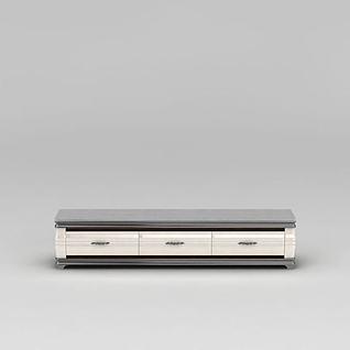 简约白色电视柜3d模型