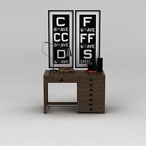 3d美式?#30340;?#23398;习桌家用<font class='myIsRed'>办公桌</font>模型