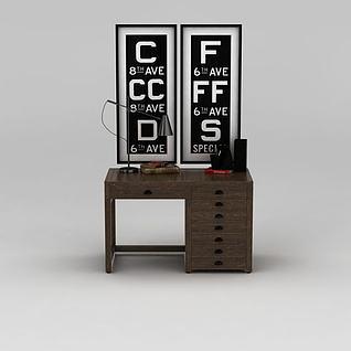 美式实木学习桌家用办公桌3d模型