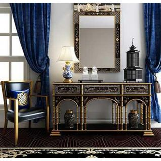 欧式精品雕花桌椅组合3d模型