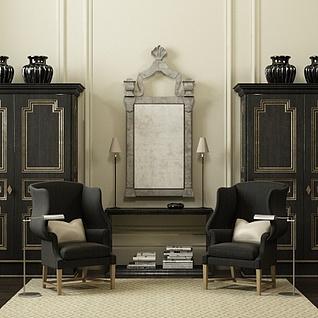 现代黑色实木边柜桌椅组合3d模型