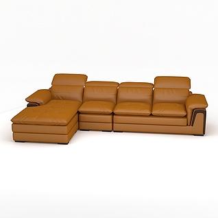 豪华真皮组合沙发3d模型